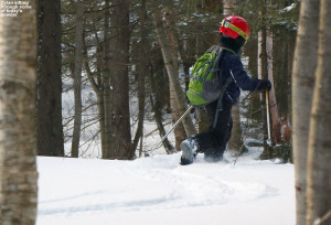 An image of Dylan skiing powder on the Bolton Valley Backcountry Network at Bolton Valley Ski Resort in Vermont