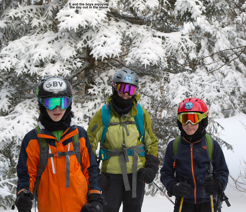 An image of Erica, Ty, and Dylan out on the Nordic and Backcountry Network at Bolton Valley Ski Resort in Vermont