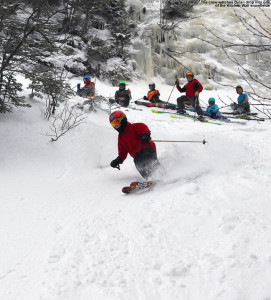 An image of Dylan skiing the Kitchen Wall area of Stowe Mountain Resort in Vermont