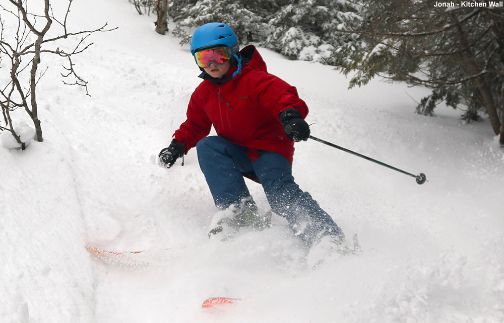 An image of Jonah skiing the Kitchen Wall area of Stowe Mountain Resort in Vermont