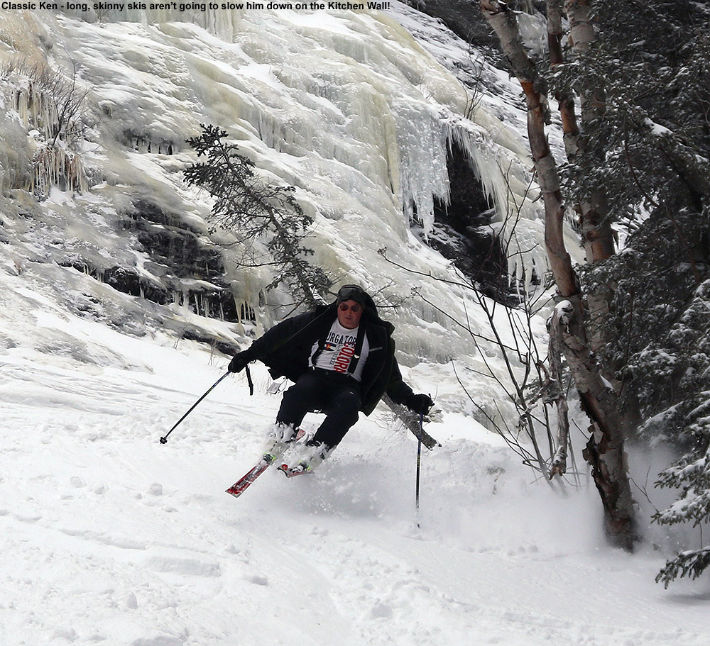 An image of Ken skiing the Kitchen Wall area at Stowe Mountain Resort in Vermont