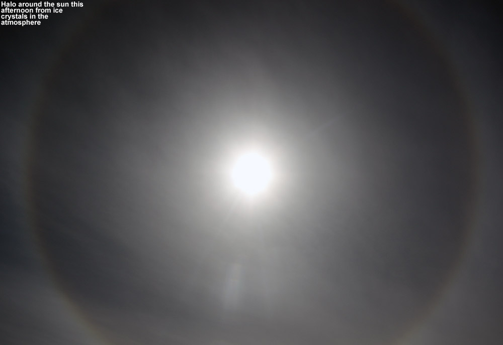 A halo around the sun viewed from Bolton Valley Ski Resort in Vermont due to ice crystals in the atmosphere