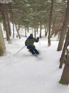 An image of Ken skiing the Green Acres area at Stowe Mountain Resort in Vermont