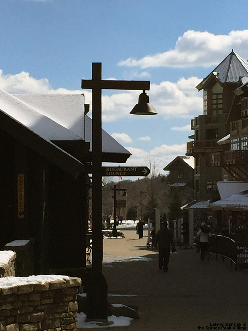 An image of the Spruce Peak Village at Stowe Mountain Resort in Vermont