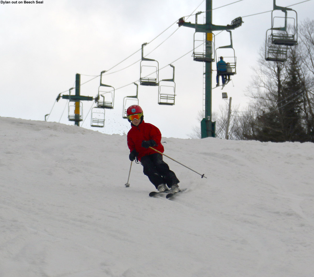 An image of Dylan skiing the Beech Seal trail at Bolton Valley Ski Resort in Vermont