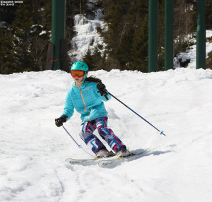 An image of Elisabeth skiing on the Gondolier Trail at Stowe Mountain Resort in Vermont