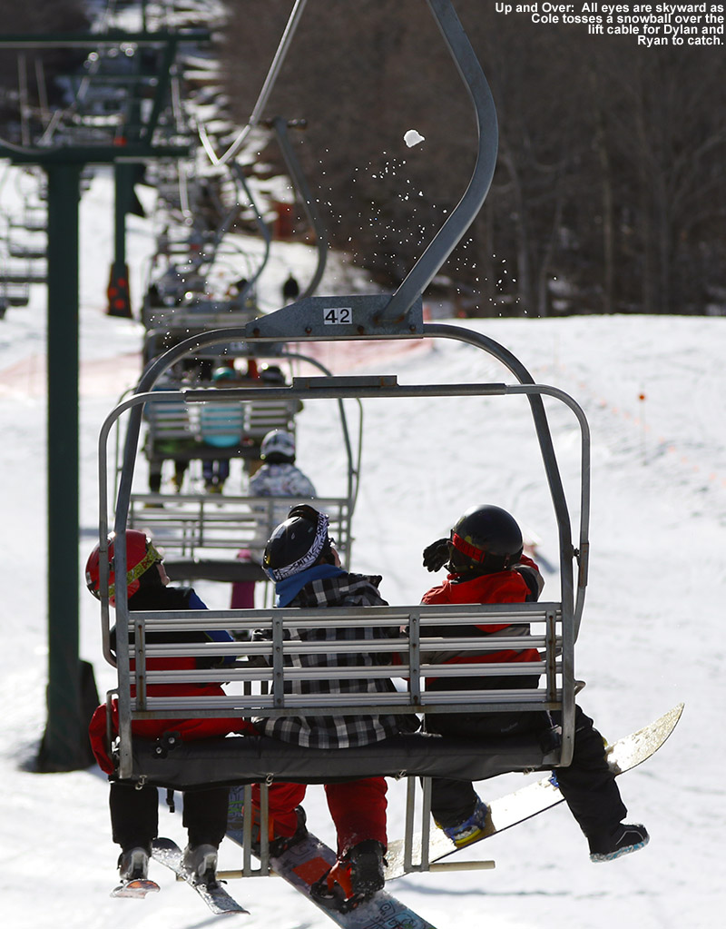 An image of Dylan, Ryan, and Cole on the Mountain Triple Chair Lift at Stowe Mountain Resort in Vermont
