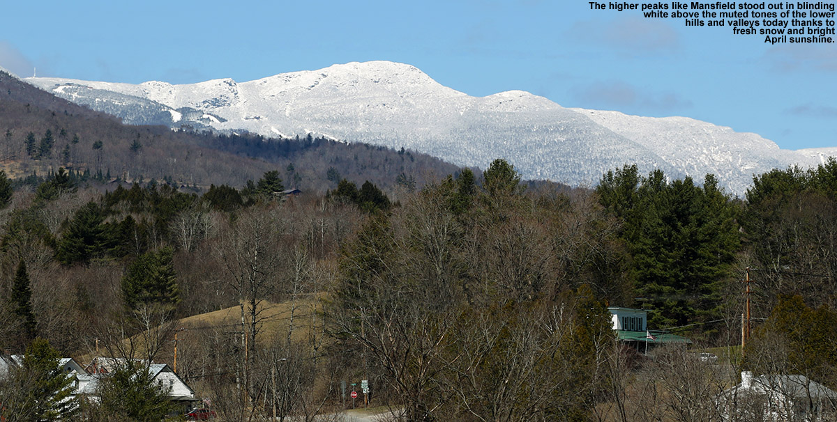 An image of Mt. Mansfield in Vermont with fresh snow from an April snowstorm