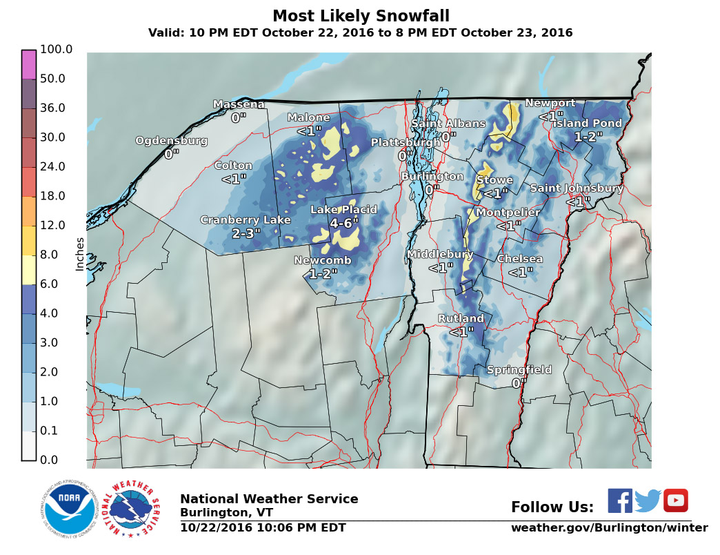An image from the Burlington National Weather Service showing projected snow accumulations for our first October snowstorm of the season