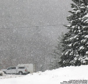 An image showing heavy October snowfall at Bolton Valley Ski Resort in Vermont
