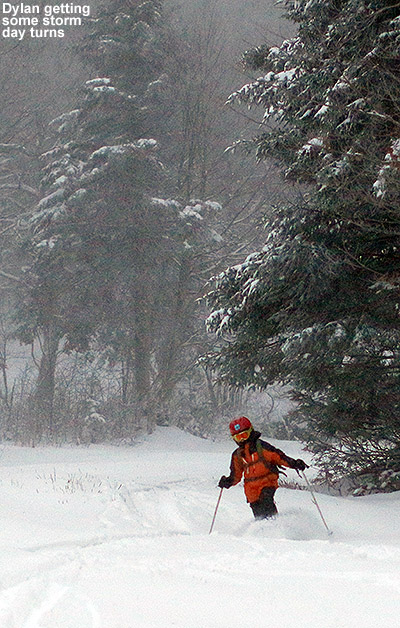 An image of Dylan Telemark skiing in powder on the Cougar trail at Bolton Valley Resort in Vermont