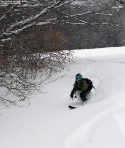 An image of Jay skiing powder on the Spell Binder trail at Bolton Valley Ski Resort in Vermont