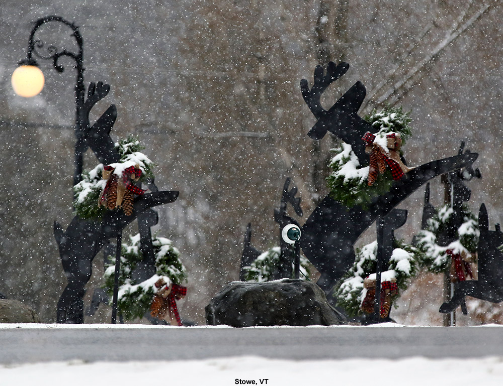An image of some decorative reindeer with snow falling in Stowe, Vermont