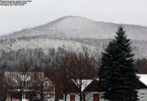 An image of a snowy mountain in Waterbury, VT