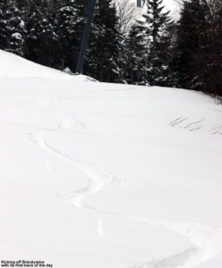 An image of ski tracks in powder snow in the Brandywine trail at Bolton Valley Resort in Vermont
