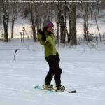 An image of Erica snowboarding in the Mighty Mite area at Bolton Valley Ski Resort in Vermont