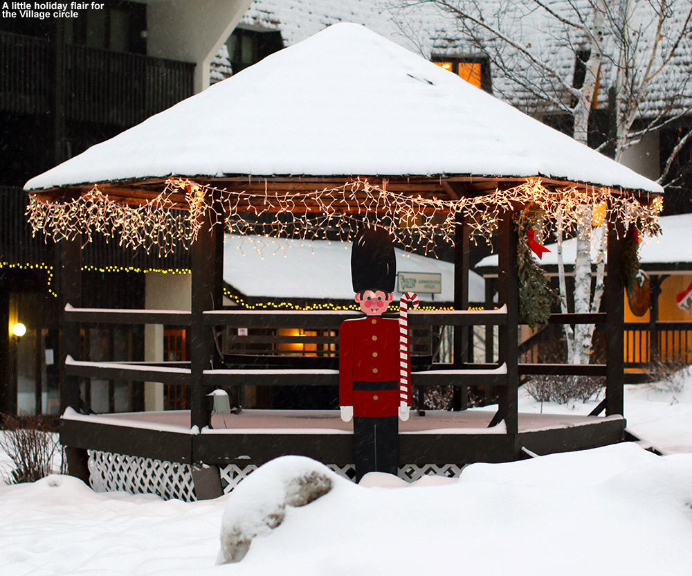 An image of some holiday decorations in the Village at Bolton Valley Ski Resort in Vermont