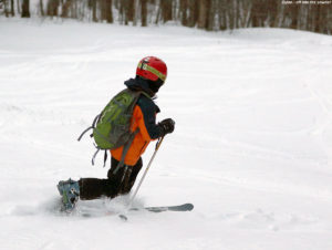 An image of Dylan Telemark skiing on the Spell Binder trail at Bolton Valley Resort in Vermont