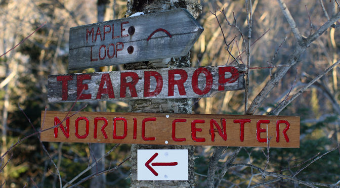 An image of trail signs on the Bolton Valley Nordic Center at Bolton Valley Ski Resort in Vermont