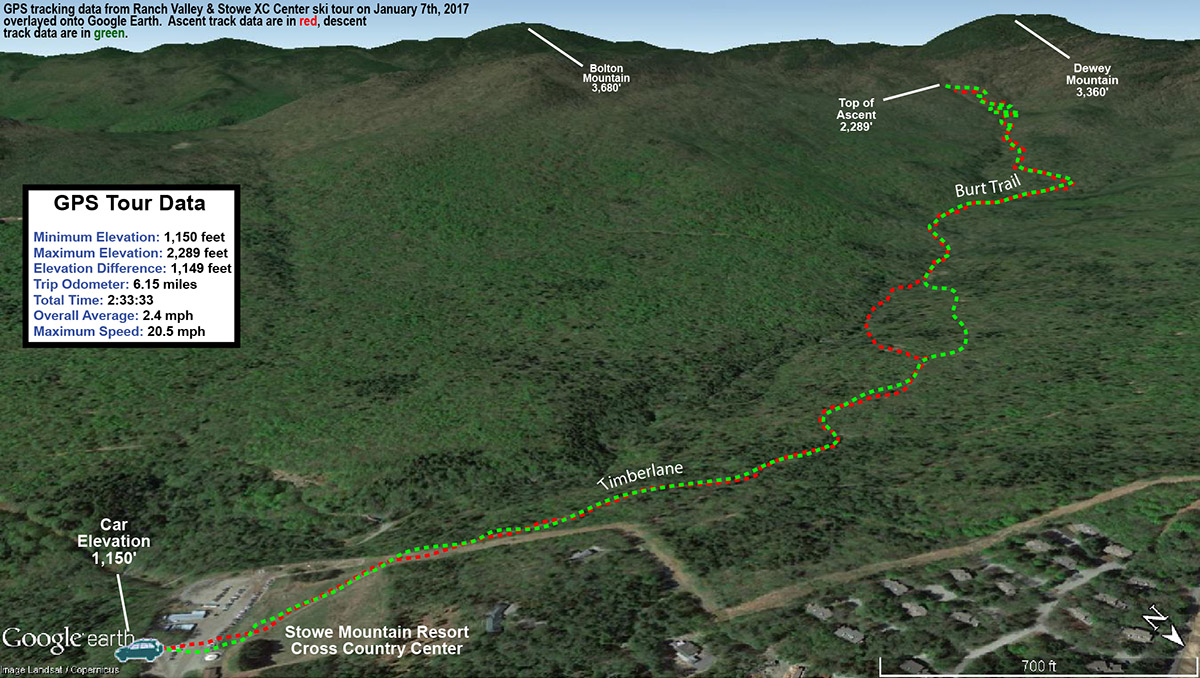 An image showing GPS data on Google Earth from a backcountry ski tour in the Ranch Valley of Vermont near Stowe Mountain Resort