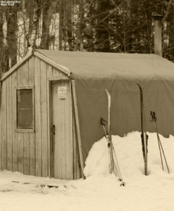 An image of a hut along the Burt Trail at Stowe Cross Country Center at Stowe Mountain Ski Resort in Vermont
