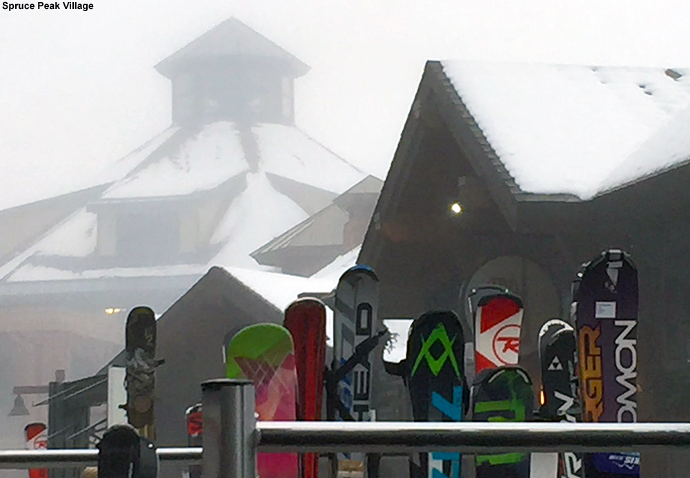 An image of some skis on a rack on the Spruce Peak Village at Stowe Mountain Ski Resort in Vermont