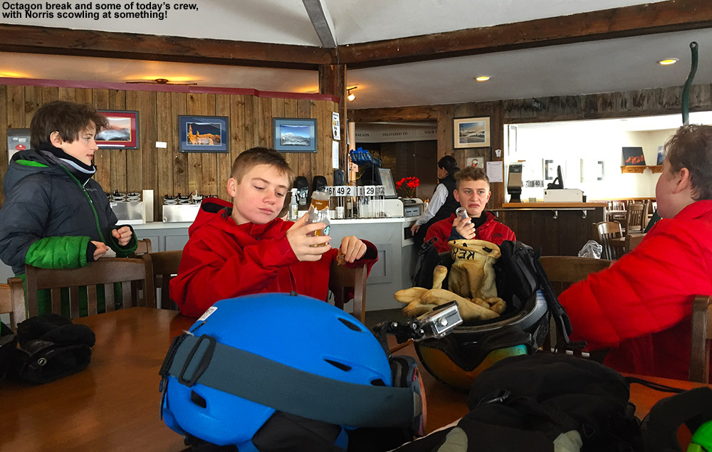 An image of some BJAMS students at the Octagon atop Stowe Mountain Ski Resort in Vermont