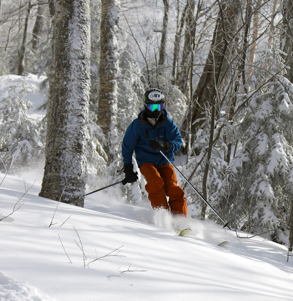An image of Ty skiing in the Wilderness Woods at Bolton Valley Resort in Vermont