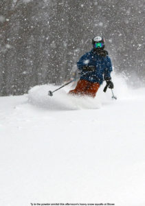An image of Ty skiing powder with heavy snowfall at Stowe Mountain Resort in Vermont