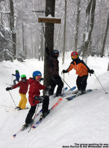 An image of some BJAMS students in the Whitewater area of Stowe Mountain Ski Resort in Vermont