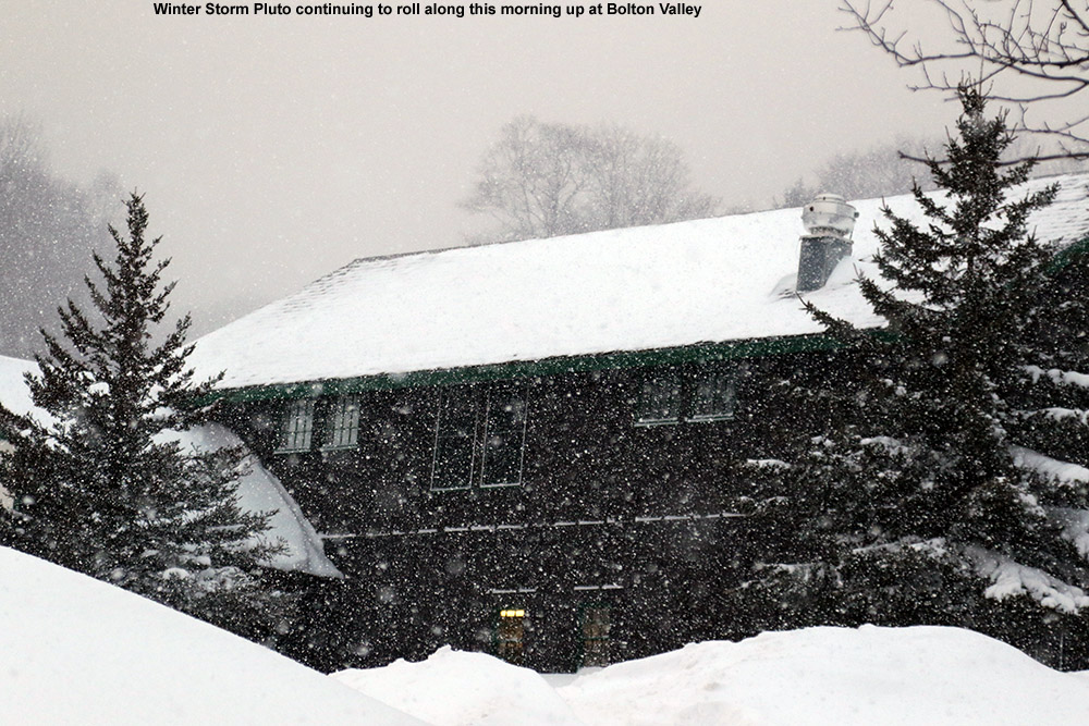 An image showing heavy snowfall from Winter Storm Pluto at the Timberline Lodge at Bolton Valley Ski Resort in Vermont