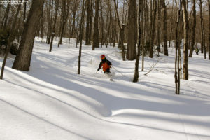 An image of Dylan backcountry skiing in powder in the Lincoln Gap area of Vermont