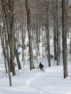 An image of Jay backcountry skiing in the Lincoln Gap area of Vermont