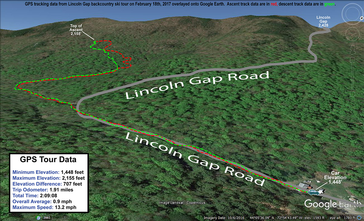 A map of GPS tracking data plotted on Google Earth from a backcountry ski tour in the Lincoln Gap area of Vermont