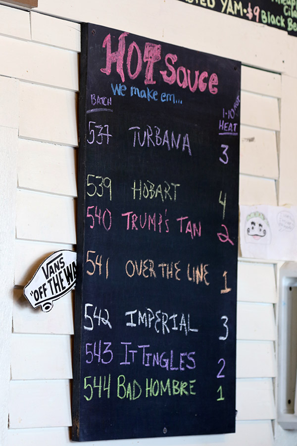 "An image of the various hot sauces available for the day at ""The Mad Taco"" restaurant in Waitsfield, Vermont"