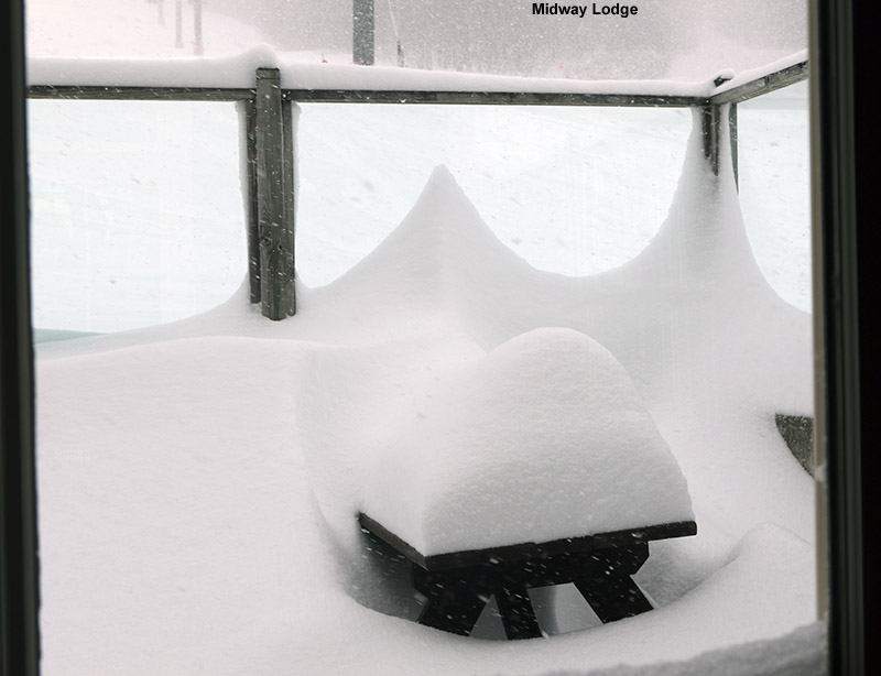 An image of deep snow on a picnic table at the Midway Lodge at Stowe Mountain Resort in Vermont