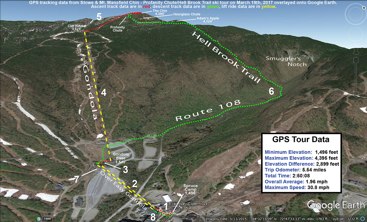 A map showing the ski route taken on a tour of Profanity Chute and the Hell Brook Trail above Stowe Mountain Resort in Vermont
