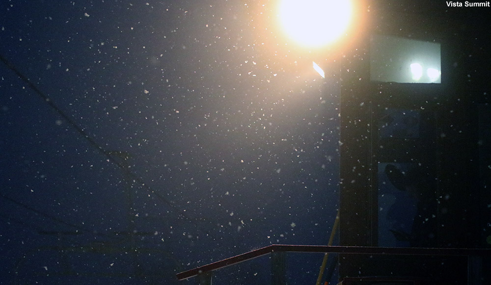 An image of snowfall at the Vista Summit at Bolton Valley Ski Resort in Vermont