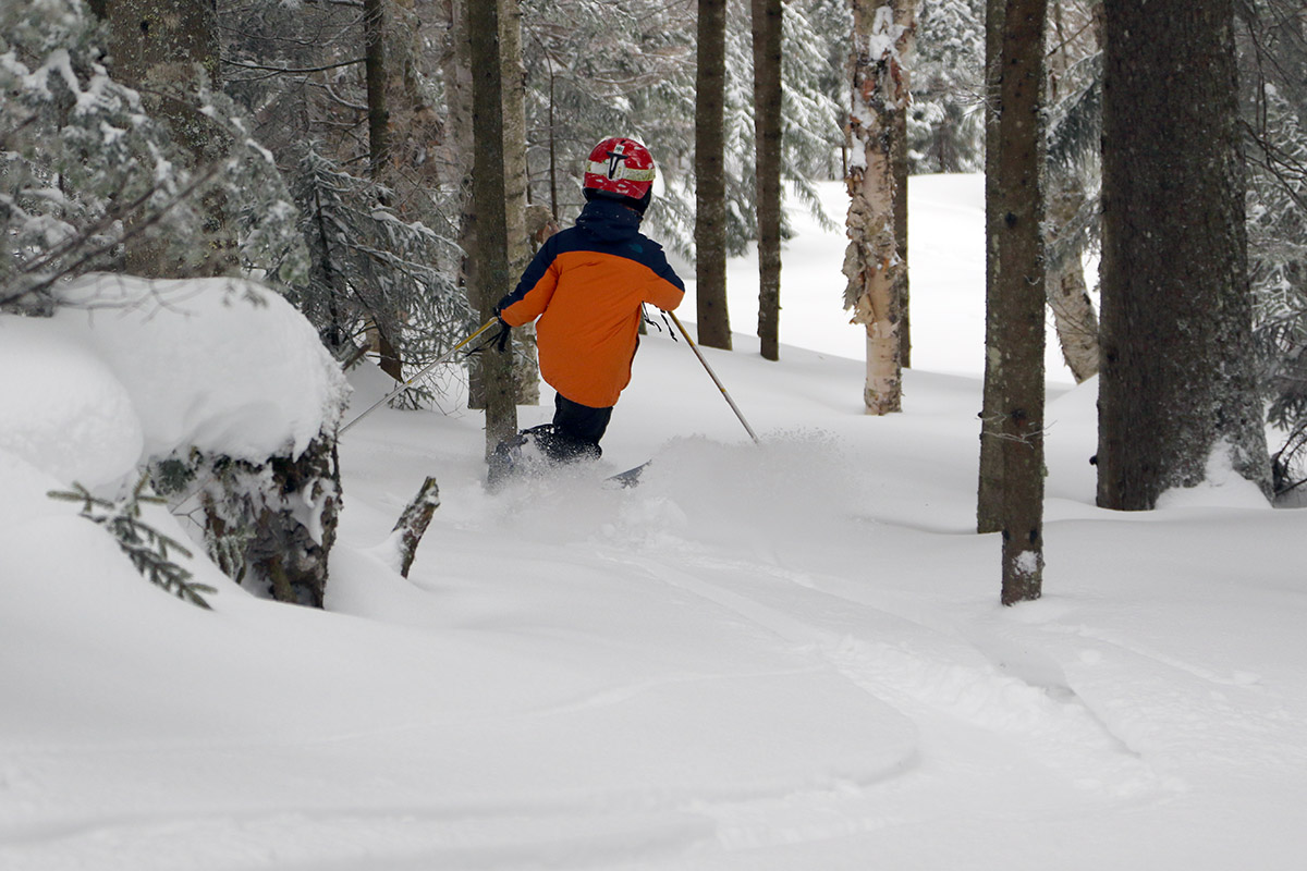 An image of Dylan Telemark skiing in powder snow in the Villager Trees area of Bolton Valley Resort in Vermont
