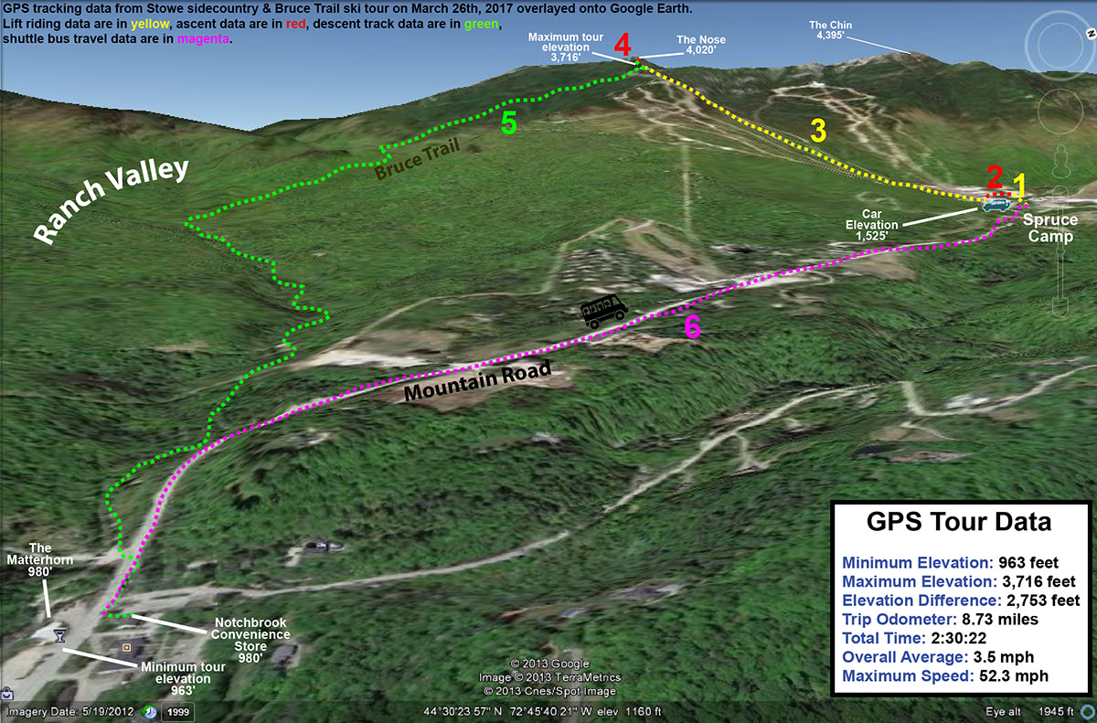 A map showing the GPS track overlayed onto Google Earth from a ski tour on the Bruce Trail near Stowe Mountain Resort in Vermont