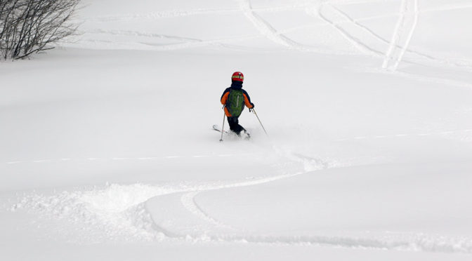 An image of Dylan skiing fresh powder on the Tattle Tale trail at Bolton Valley Ski Resort in Vermont