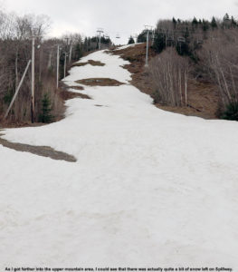 An image of the Spillway trail at Bolton Valley Ski Resort in Northern Vermont at the end of April