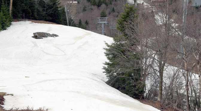 An image looking down the Spillway trail at Bolton Valley Ski Resort in Vermont at the end of April