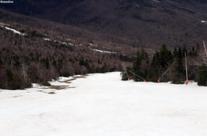 An image of the Nosedive trail in May at Stowe Mountain Ski Resort in Vermont