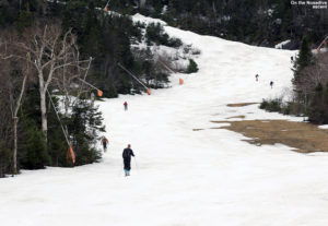 An image of skiers skinning up the Nosedive trail in May at Stowe Mountain Resort in Vermont