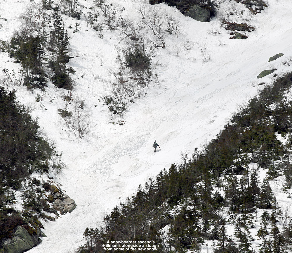 An image of a snowboarder hiking Hillman's Highway on Mt. Washington in New Hampshire