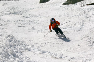 An imae of Rob skiing Hillman's Highway on Mt. Washington in New Hampshire