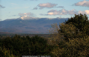 An image of Mt. Mansfield in Vermont with some October snow as viewed from the University of Vermont in Burlington