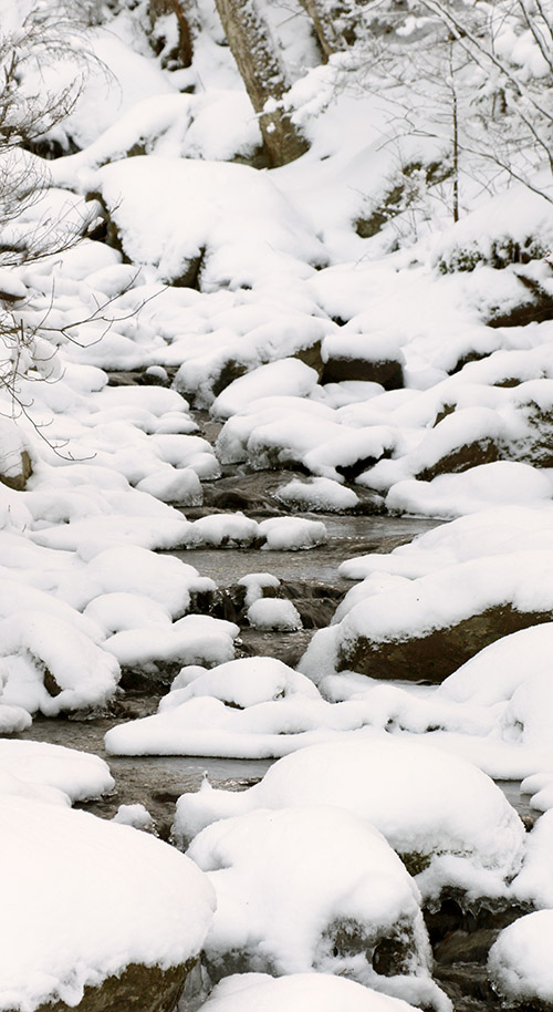 An image of fresh snow in a streambed at Bolton Valley Ski Resort in Vermont