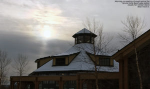 An image of the Spruce Camp Base Lodge at Stowe Mountain Ski Resort in Vermont